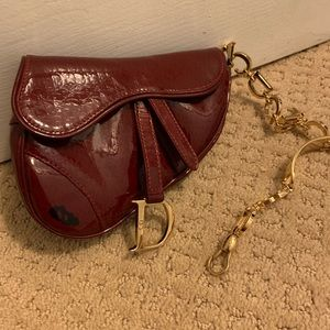 Authentic Dior mini saddle wristlet